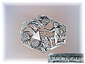 Brooch Pin Sterling Silver Cherub Cross Vintage (Image1)