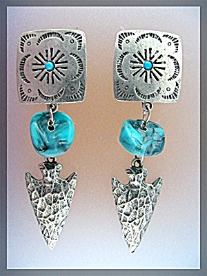 Pewter Turquoise Dangle Clip Earrings Signed JJ (Image1)