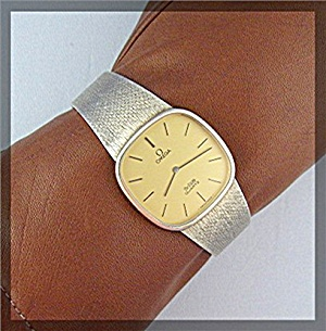 Sterling Silver Gold Vermeil Omega Wristwatch