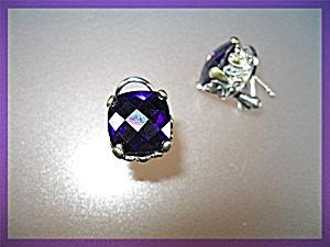 Amethyst Sterling Silver French Back Pierced Earrings (Image1)