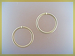 Earrings Hoop 14K Spring Clip Gold USA (Image1)
