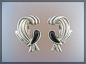 Sterling Silver Onyx Clip Earrings DULCE Taxco Mexico (Image1)