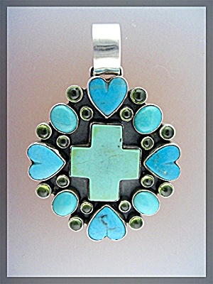 Dan Dodson Turquoise  Sterling Silver Hearts Pendant (Image1)