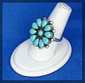 Sterling Silver American Indian Turquoise Flower Ring (Image1)
