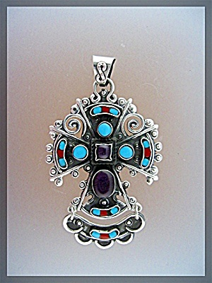 Pendant Sterling SilverTurquoise Amethyst Coral Mexico (Image1)