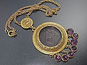 Goldtone Chain Amethyst Glass Cameo Pendant