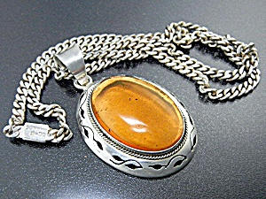 Taxco Mexico Sterling Silver Amber Pendant Curb Link Ch