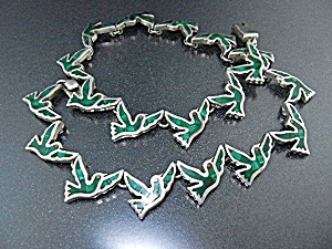 Taxco Mexico Sterling Silver Malachite Birds Necklace