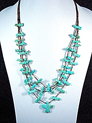 Native American Carved Turquoise Heishi Necklace