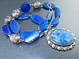 Lapis Sterling Silver Denhim Lapis Necklace