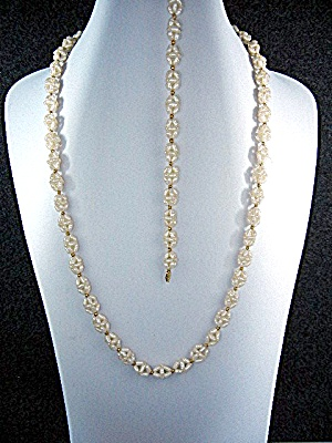 14k Gold Freshwater Pearls Double Helix Necklace Bracel
