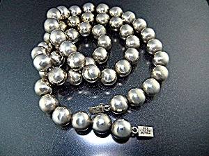 Taxco Sterling Silver Beads Necklace TH-13 (Image1)