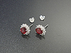 Ruby Sterling Silver White Sapphire Post Earrings