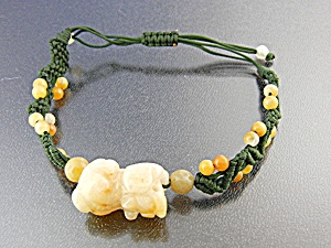 Jade Golden Dog Silk Cord Pull Bracelet Jade Beads (Image1)