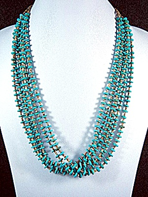 Native American Turquoise Heishi 6 Strands Necklace