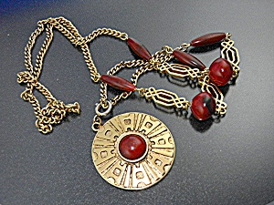 Sarah Coventry Goldtone Red Lucite Plastic Beads