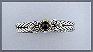 Bracelet Sterling Silver Gold Onyx Pull Apart Italy