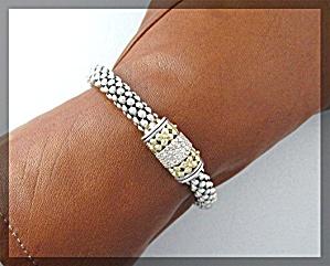 LAGOS 18k Gold Diamond  Sterling Silver Bracelet (Image1)