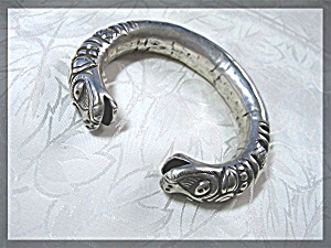 Sterling Silver Hand Crafted Dragon Cuff Bracelet Nepal (Image1)