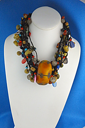 Amber And Glass 10 Strand Necklace Indonesia