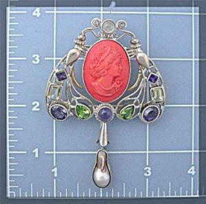 Coral Amethyst peridot Citrine Pearl Sterling Silver Pi (Image1)