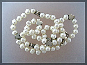 Sterling Silver Hearts 6mm Freshwater Pearl Necklace (Image1)