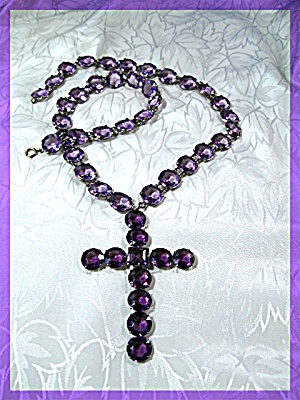 Amethyst Faceted Glass Claw Set Antique Necklace