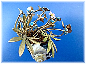 Brass Painted Flowers Shell Vines And Butterfly
