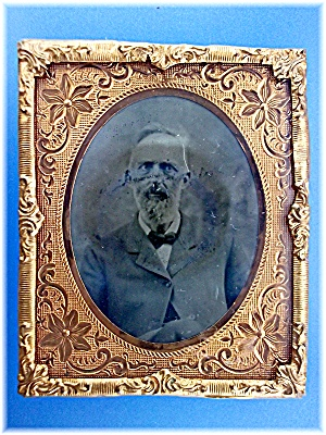 Antique Tintype photo and Gold Frame  and Stand (Image1)