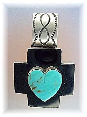 Dan Dodson Sterling Silver Onyx Turquoise Heart Cross  (Image1)