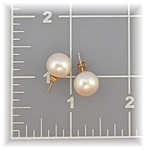 Earrings 14K Gold Cultured 11mm Pearl Stud Macys (Image1)