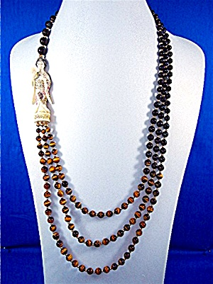 14 K Gold Tiger Eye Blue 2 Strand Faux Netsuke Necklace