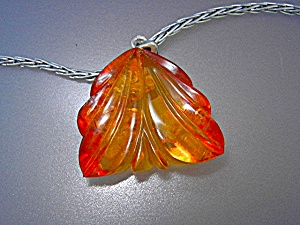 Baltic Amber Carved Pendant Sterling Silver Chain