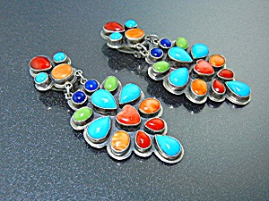 Navajo Turquoise Coral Gaspeite Sterling Silver Clips R