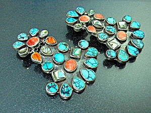 Oscar Betz Sterling Silver Turquoise Abalone Spiny Clip (Image1)