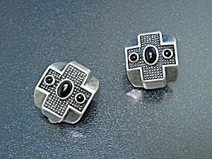 Sterling Silver Onyx Designer Signed Clip Earrings (Image1)