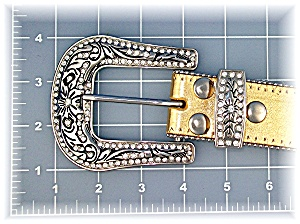 Gold Leather Crystal Fleur De Lis Belt (Image1)