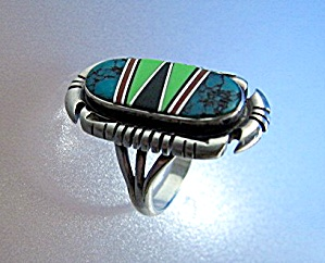 Ring Sterling Silver Coral Onyx Turquoise Gaspeite  (Image1)