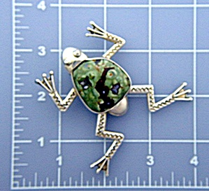 Taxco Citlal Castillo 17 Sterling Silver Agate  Frog Pi (Image1)