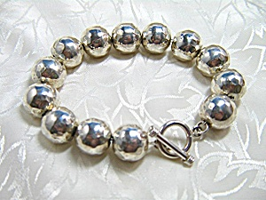Bracelet Sterling Silver 13mm Dimpled Bead Toggle