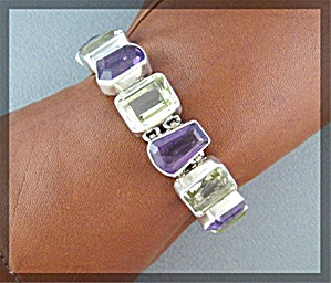 Bracelet Amethyst Lemon Citrine Sterling Silver Toggle  (Image1)