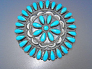 Zuni Turquoise Sterling Silver Brooch P. Jones