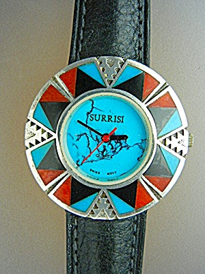 Surrisi Sterling Silver Coral Turquoise Onyxinlay Watch