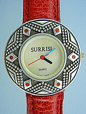 Surrisi Sterling Silver Coral Mother Of Pearl Wrist Wat