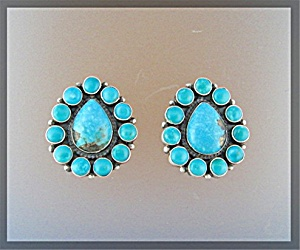 Navajo Sterling Silver Sleeping Beauty Turquoise Clip