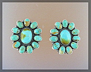 Kirk Smith Sterlimng Silver Turquoise Clip Earrings