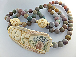 Necklace Jade Beads  Pre Ban Ivory Beads Lady Signed (Image1)