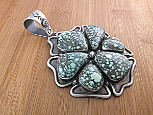 Pendant Sterling Silver Turquoise Charles Johnson (Image1)