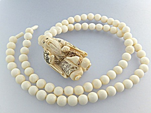 Necklace Pre Ban Ivory Beads And Pendant