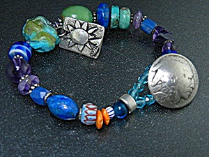 Sterling Silver And Turquoise Beads Jess Mahary Bracele